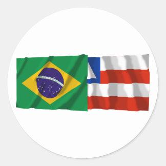 Bahia & Brazil Waving Flags Round Sticker