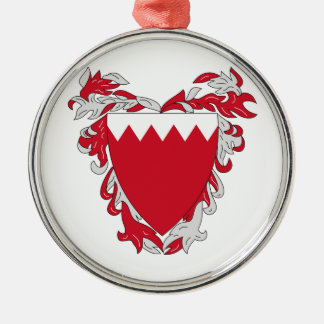 Bahrain Coat Of Arms Silver-Colored Round Ornament
