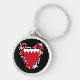 bahrain emblem Silver-Colored round keychain