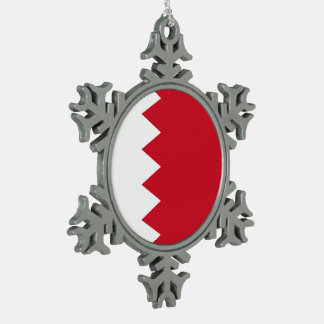 Bahrain Flag Pewter Snowflake Ornament