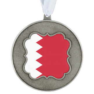 Bahrain Flag Scalloped Pewter Ornament