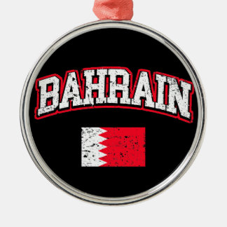 Bahrain Flag Silver-Colored Round Ornament