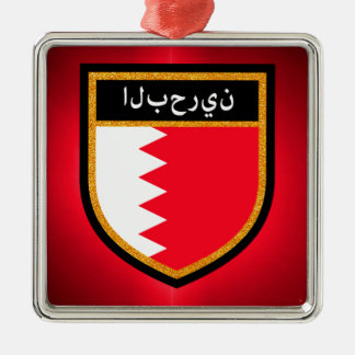 Bahrain Flag Silver-Colored Square Ornament
