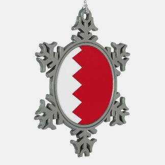 Bahrain Flag Snowflake Pewter Christmas Ornament