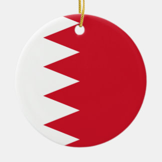 Bahrain National World Flag Round Ceramic Ornament