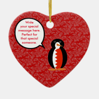 Bahraini Holiday Mr. Penguin Ceramic Heart Ornament