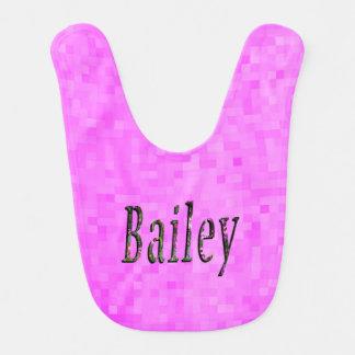 Bailey, Name, Logo, Baby Girls Pink Bib. Bib