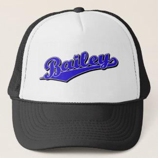 Bailey script logo in blue trucker hat