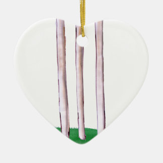 BAILS cricket, tony fernandes Ceramic Heart Ornament