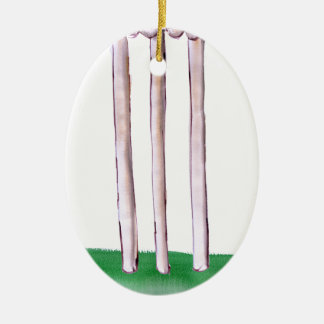 BAILS cricket, tony fernandes Ceramic Oval Ornament
