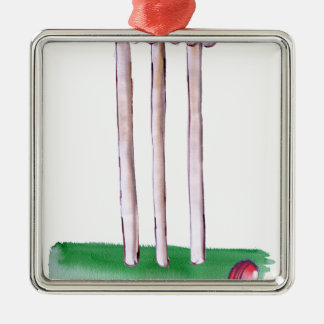 BAILS cricket, tony fernandes Silver-Colored Square Ornament