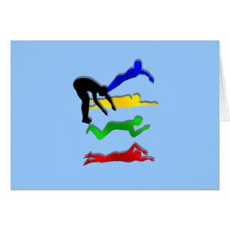 Bain de sports aquatiques de nageurs de natation carte de vœux