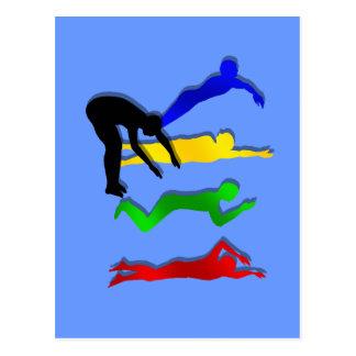 Bain de sports aquatiques de nageurs de natation cartes postales