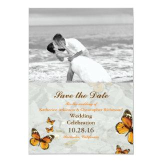 Baiser/papillon de mariage de plage carton d'invitation  12,7 cm x 17,78 cm