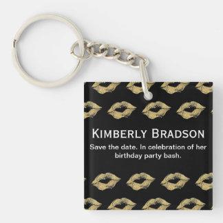 Baisers d'or porte-clé carré en acrylique double face