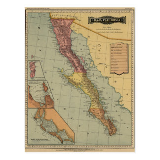 Baja California Antique Map Postcard