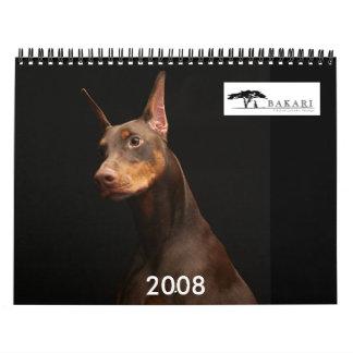 Bakari Dobermans 2008 Wall Calendar