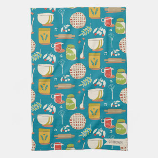 Bake a Cherry Pie on teal Kitchen Towel
