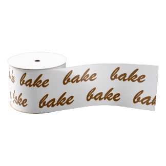 bake bake bake Chocolate Brown White Brush Script Grosgrain Ribbon