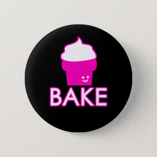 Bake - Cupcake Design - White Text 2 Inch Round Button