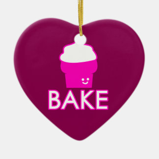 Bake - Cupcake Design - White Text Ceramic Ornament