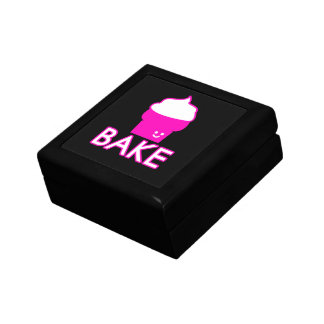 Bake - Cupcake Design - White Text Gift Box