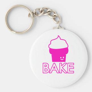 Bake - Cupcake Design - White Text Keychain