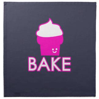 Bake - Cupcake Design - White Text Napkin