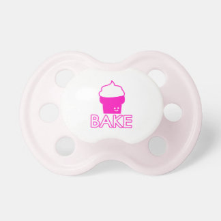 Bake - Cupcake Design - White Text Pacifiers
