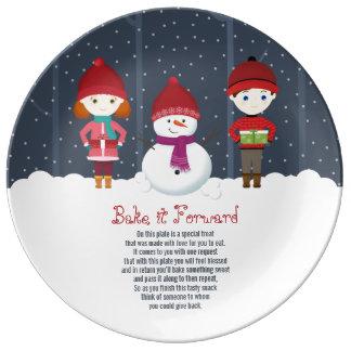 Bake it Forward Snowman Winter Wonderland Plate
