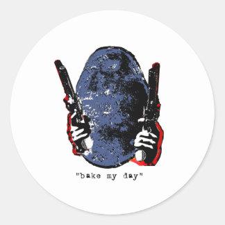 bake my day-blue round stickers