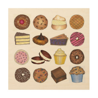 Bake Sale Bakery Cake Pie Doughnut Brownie Kitchen Wood Wall Decor