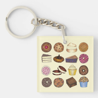 Bake Sale Cupcake Brownie Pie Cake Baked Goods Keychain