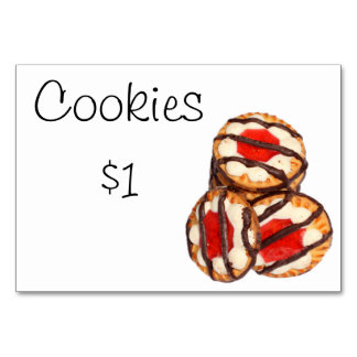 Bake Sale Fundraiser Table Signage Card Cookies