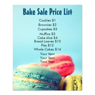 Bake Sale Price List Colorful Macarons Cookies Flyer