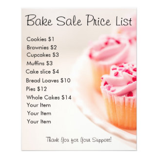 Bake Sale Price List Pink Cupcakes Flyer