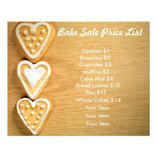 Bake Sale Price List Wood Background Heart Cookies Flyer