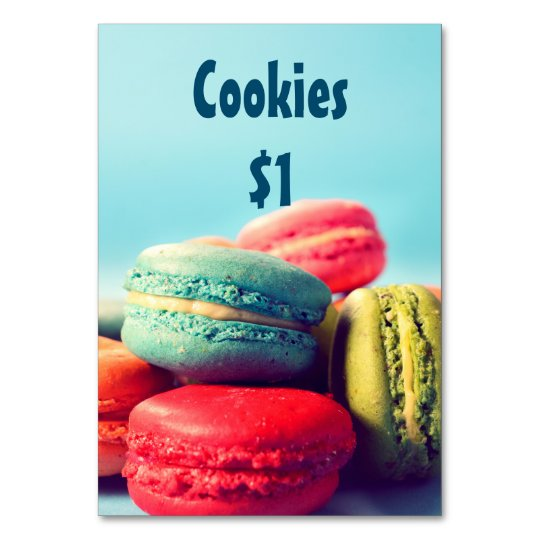 Bake Sale Price Table Sign Colourful Macarons Card