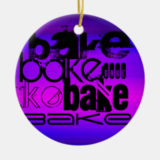 Bake; Vibrant Violet Blue and Magenta Ceramic Ornament