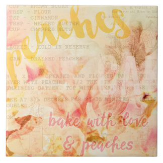 Bake with love and peaches collage tiles