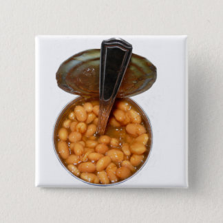 Baked Beans in Tin Can with Spoon 2 Inch Square Button