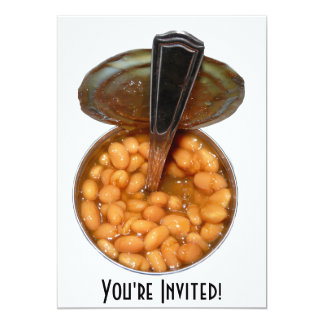 """Baked Beans in Tin Can with Spoon 5"""" X 7"""" Invitation Card"""