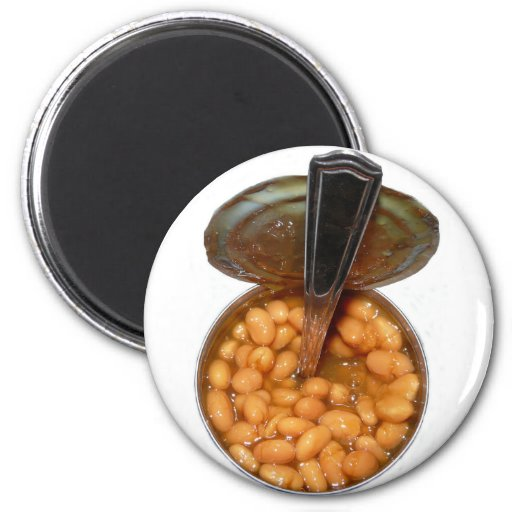 Baked Beans in Tin Can with Spoon Fridge Magnets