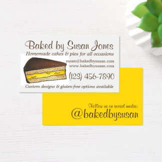 Baked By Boston Cream Pie Cake Slice Bakery Pastry Business Card