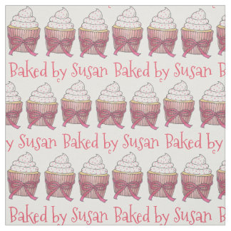 Baked by Personalized Pink Cupcake Cake Fabric