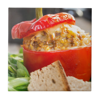 Baked stuffed peppers with meat sauce and cheese ceramic tile