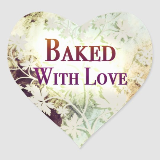 Baked With Love heart stickers (naturals)