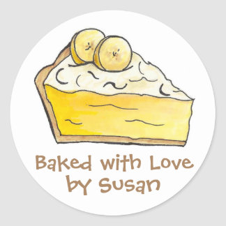 Baked with Love Personalized Banana Pie Stickers