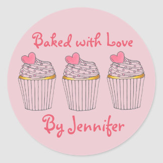 Baked with Love Personalized Pink Cupcake Heart Classic Round Sticker