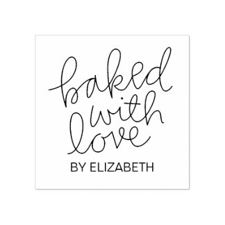 Baked With Love Personalized Rubber Stamp
